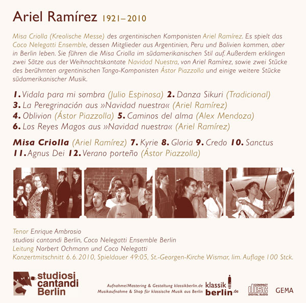 studiosi cantandi, Ariel Ramirez, Juni 2010